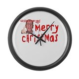 Old Pissed Off Man Christmas Large Wall Clock