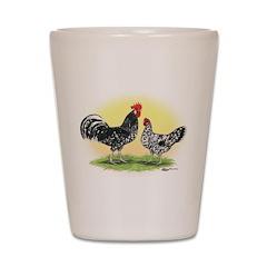 Exchecker Leghorn Chickens Shot Glass