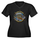 Bluegill Master Women's Plus Size V-Neck Dark T-Sh