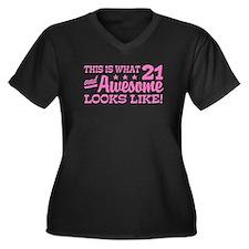 Funny 21st Birthday Women's Plus Size V-Neck Dark