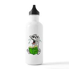 Cartoon Dog Reading Book Water Bottle
