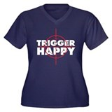 trigger happy Women's Plus Size V-Neck Dark T-Shir