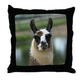 Brown and White Llama Throw Pillow