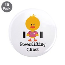 """Powerlifting Chick 3.5"""" Button (10 pack)"""
