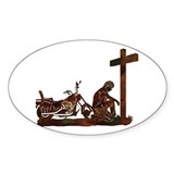 Biker at Cross Decal