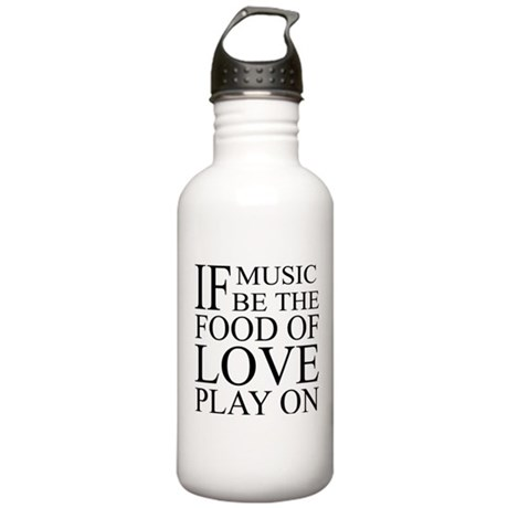 Music-Food-Love Quote Stainless Water Bottle 1.0L