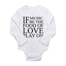 Music-Food-Love Quote Long Sleeve Infant Bodysuit