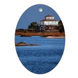 House on water, Cedar Key Oval Ornament