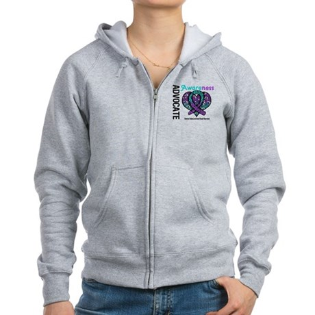 Purple & Teal Heart Women's Zip Hoodie