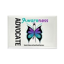 Purple & Teal Butterfly Rectangle Magnet (10 pack)