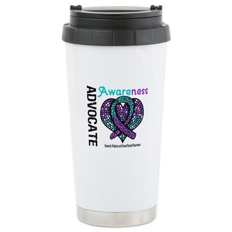 Purple & Teal Heart Ceramic Travel Mug