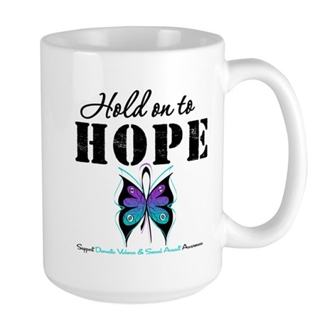 Purple & Teal Hope Large Mug