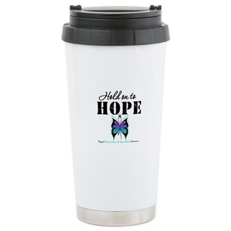 Purple & Teal Hope Ceramic Travel Mug