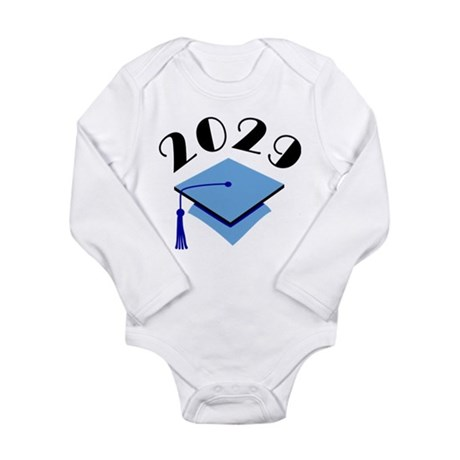 2029 Graduation Hat Logo Long Sleeve Infant Bodysu