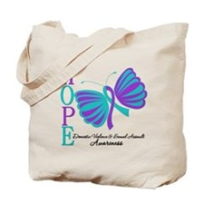 Hope Butterfly Teal&Purple Tote Bag
