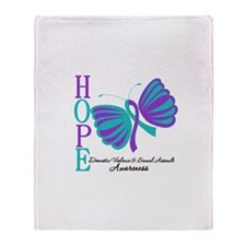 Hope Butterfly Teal&Purple Throw Blanket