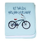 Put the Fun Between Your Legs - blue baby blanket