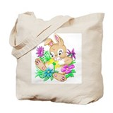 Bunny With Flowers Tote Bag