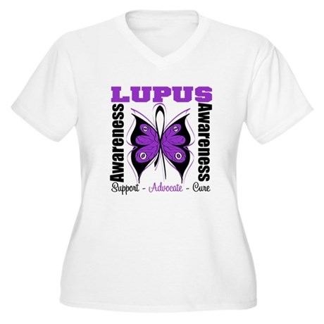 Lupus Awareness Butterfly Women's Plus Size V-Neck