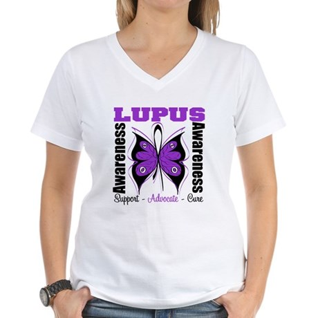 Lupus Awareness Butterfly Women's V-Neck T-Shirt