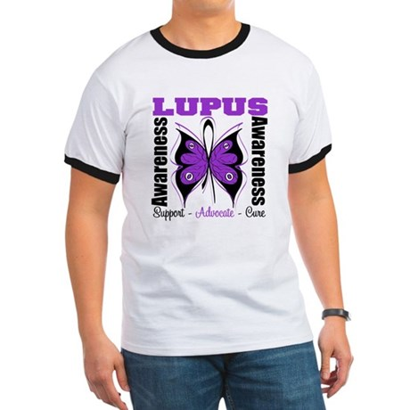 Lupus Awareness Butterfly Ringer T