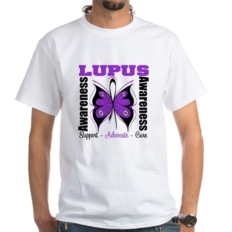 Lupus Awareness Butterfly White T-Shirt