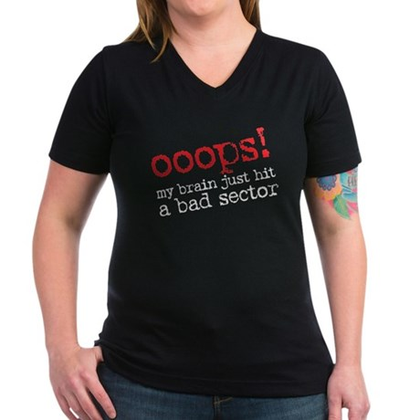 ooops! bad sector Women's V-Neck Dark T-Shirt