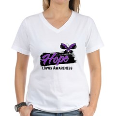 Butterfly Hope Lupus Women's V-Neck T-Shirt