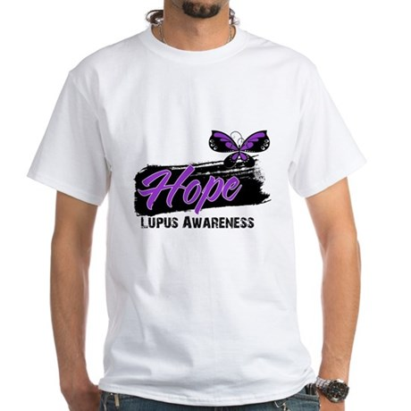 Butterfly Hope Lupus White T-Shirt