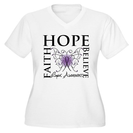 Hope Tattoo Butterfly Lupus Women's Plus Size V-Ne