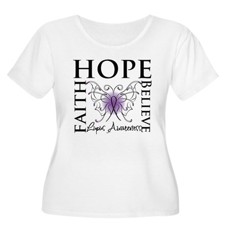 Hope Tattoo Butterfly Lupus Women's Plus Size Scoo