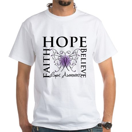 Hope Tattoo Butterfly Lupus White T-Shirt