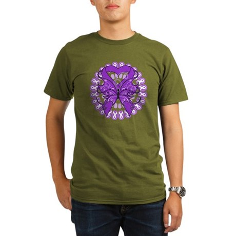 Lupus Butterfly Ribbon Organic Men's T-Shirt (dark