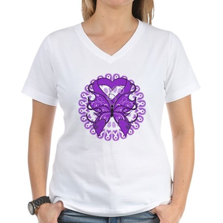 Lupus Butterfly Ribbon Women's V-Neck T-Shirt