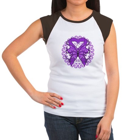 Lupus Butterfly Ribbon Women's Cap Sleeve T-Shirt