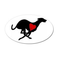 Greyhound Heart Hound 38.5 x 24.5 Oval Wall Peel