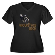 Mountain Bike Women's Plus Size V-Neck Dark T-Shir