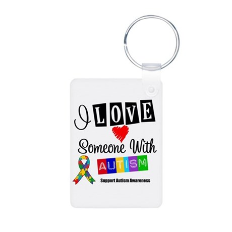 I Love Someone Autism Aluminum Photo Keychain