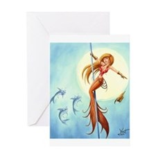 pole_dancing_mermaid_ Greeting Cards