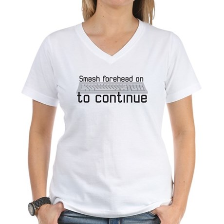 smash forehead on keyboard Women's V-Neck T-Shirt