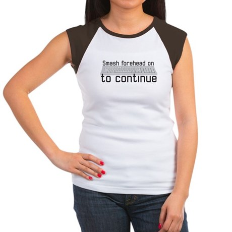 smash forehead on keyboard Women's Cap Sleeve T-Sh
