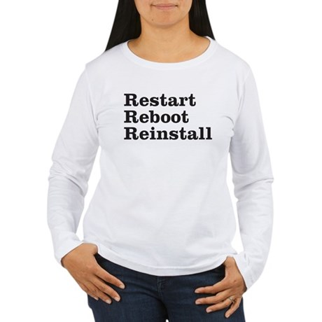 restart reboot reinstall Women's Long Sleeve T-Shi