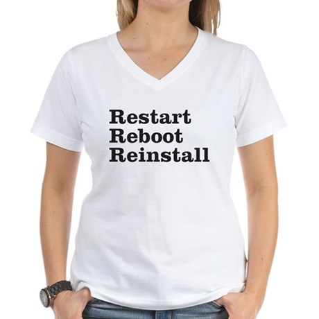 restart reboot reinstall Women's V-Neck T-Shirt