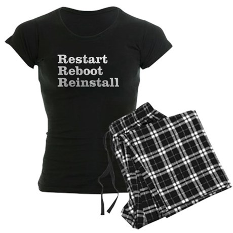 restart reboot reinstall Women's Dark Pajamas