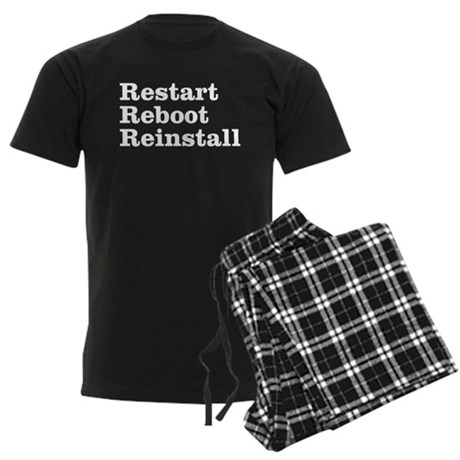 restart reboot reinstall Men's Dark Pajamas