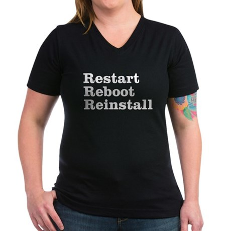 restart reboot reinstall Women's V-Neck Dark T-Shi