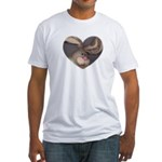 BUNNY FACE HEART Fitted T-Shirt