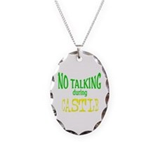 No Talking During Castle Necklace Oval Charm