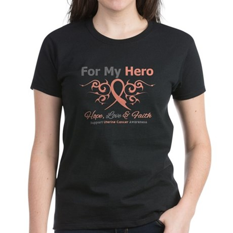 Uterine Cancer For My Hero Women's Dark T-Shirt