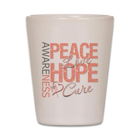 Uterine Cancer Peace Love Shot Glass